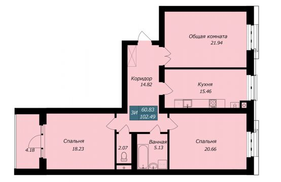 Трехкомнатная квартира в Бресте