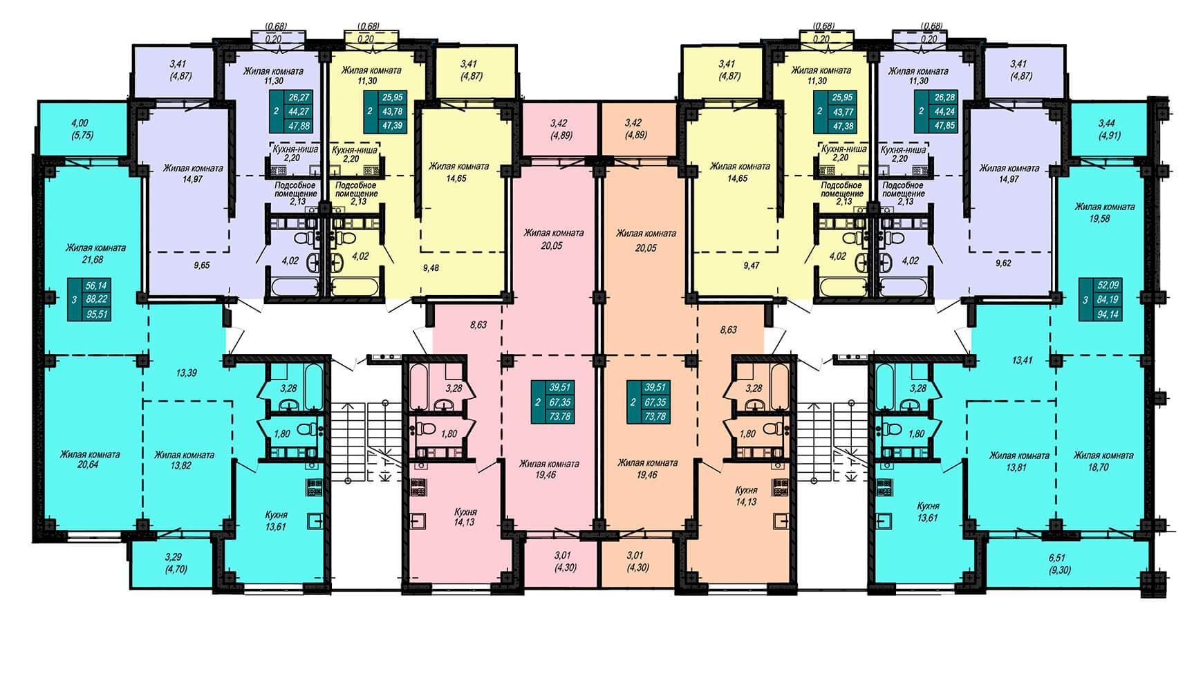 Секция А, 2 этаж