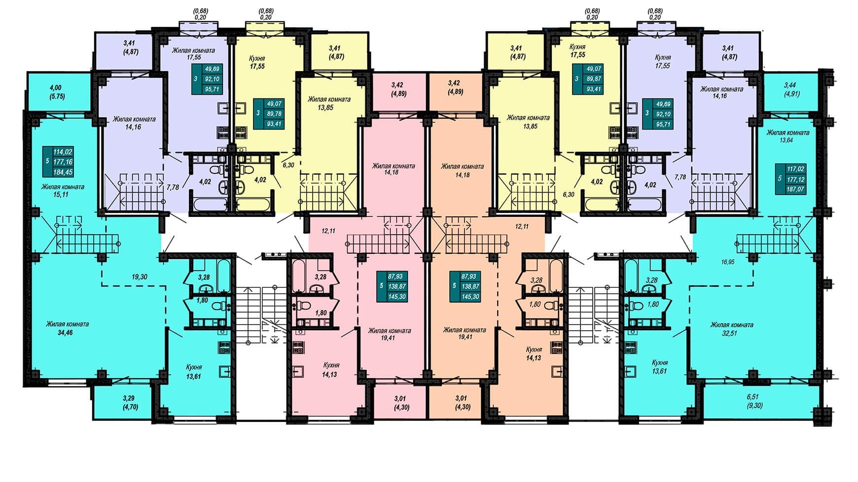 Секция А, 5 этаж + мансарда (двухэтажные квартиры)