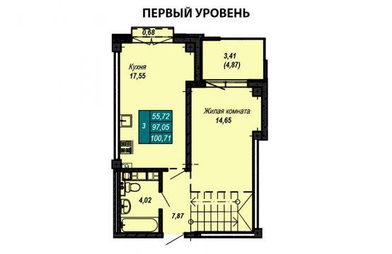Квартира №59 (двухуровневая квартира) (не продается)
