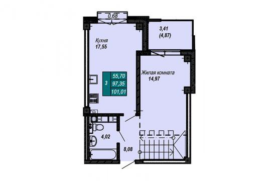 Квартира №79 (двухуровневая квартира) (не продается)